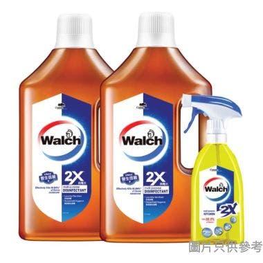 Walch威露士消毒水(濃縮)1L 2支+威露士消毒廚房砧板殺菌噴霧500ml