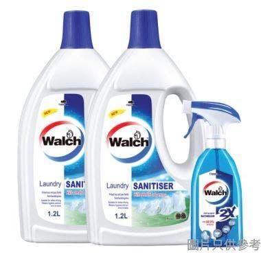 Walch威露士松木味衣物消毒液1.2L 2支+威露士消毒浴室廁板殺菌噴霧500ml