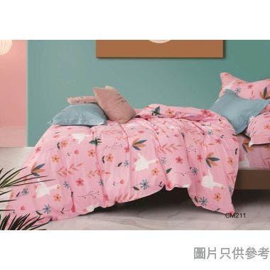 Casablanca Massa840針純棉印花被袋套裝雙人加大 CM211 (床笠+枕袋) - 粉紅色