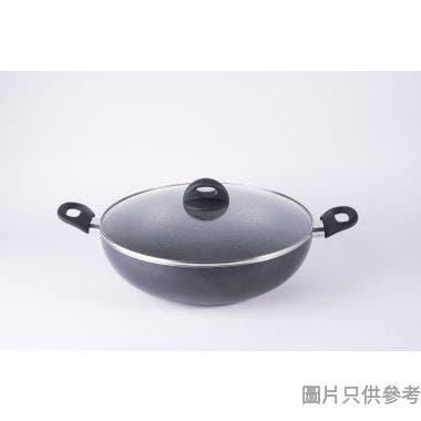 Style N Cook膳煮雙耳易潔炒鑊連玻璃蓋34cm 350022SN - 灰珍珠