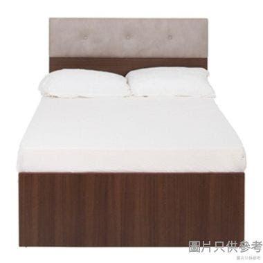 Staple 48吋x72吋鈕扣布藝雙人床 - 胡桃色配白色