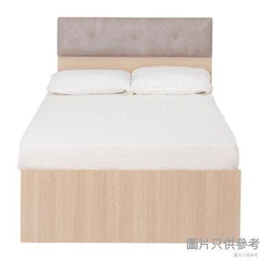 Staple 48吋x72吋鈕扣布藝雙人床 - 橡木色配白色