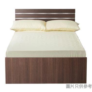 Staple 48吋x72吋波浪紋木屏三櫃桶油壓雙人床 - 胡桃色配銀色
