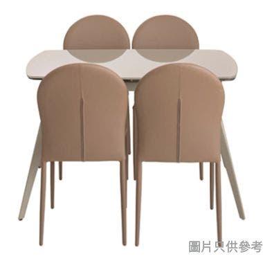 ALLY ITB-DT107T-CPN+ISD-DT62C-LBN強化玻璃伸展1檯+四椅-杏灰檯/淺啡椅