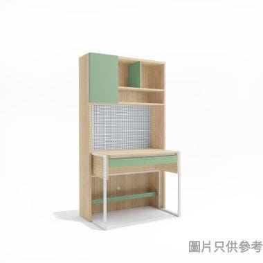 MILA 成長學習檯連書櫃1000W x 625D x 1800Hmm - 橡木色配薄荷綠