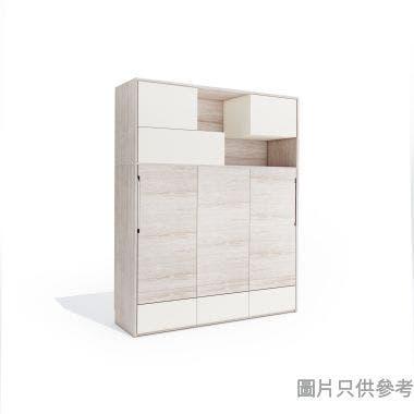 Transformer2.0 TFII-SOFA-A+B 多功能雙人床連書櫃 1995W x 500Dmm- 木紋色配米白色