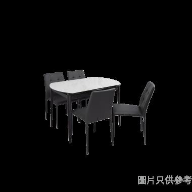 PIZA+ELVA意大利陶瓷玻璃開合圓餐檯配四椅 - 白石紋檯面配鉛色椅