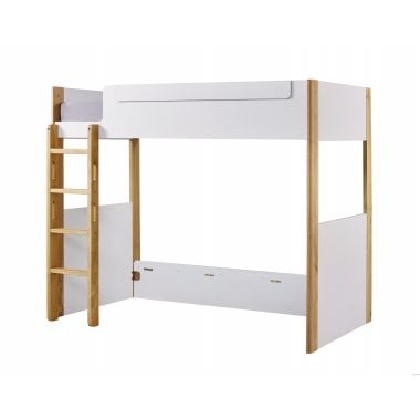 BIANCO WK75036L 高架單人床(面向計左面梯) 1075W x 1880D X 1709Hmm - 白色配橡木