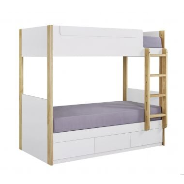 BIANCO WK-753636R 雙層床配三櫃桶(面對右邊) 1075W x 1880D x 1709Hmm- 白色配橡木色