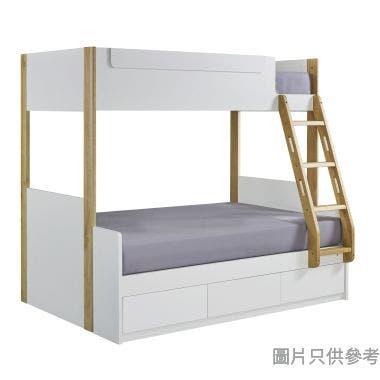 BIANCO WK-753648R 雙層床配三櫃桶(面對右邊)1379W x 1880D X 1709Hmm- 白色配橡木色