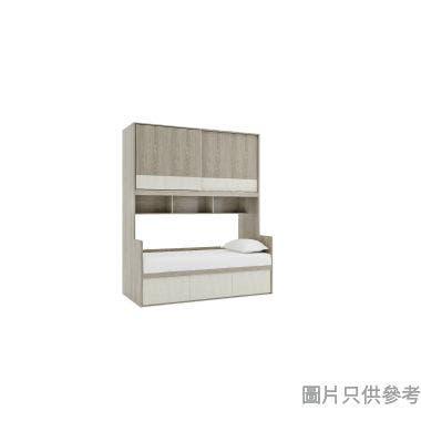 Cemento 單人組合床連趟門衣櫃933W x 1883D x 2280Hmm - 灰橡色配白水泥色