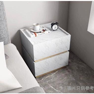 MISTY ESSHX-MD-03-MA 兩櫃桶床頭櫃450W x 400D x 465Hmm -  白色雲石紋