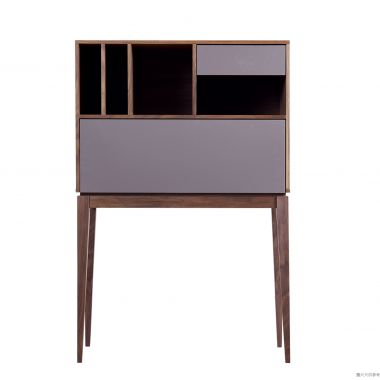 GRIZZ SKW-H-3654 高身飯廳櫃900W x 400D x 1360Hmm - 胡桃色/淺灰色