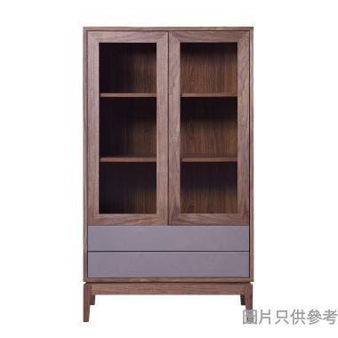 GRIZZ SKW-H-3357 雙玻璃門兩櫃桶飯廳櫃830W x 400D x 1450Hmm - 胡桃色/淺灰色